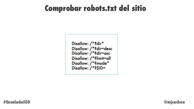 @mjcachon#EnsaladaSEO Comprobar robots.txt del sitio