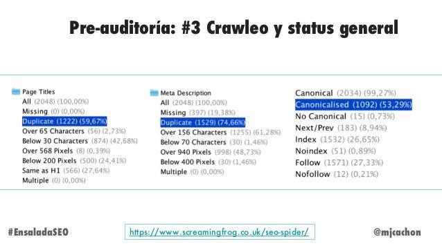 @mjcachon#EnsaladaSEO Pre-auditoría: #3 Crawleo y status general https://www.screamingfrog.co.uk/seo-spider/