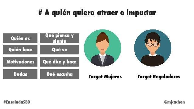 Target Mujeres Target Regaladores Quién es Quién hace Motivaciones Dudas Qué piensa y siente Qué ve Qué dice y hace Qué es...