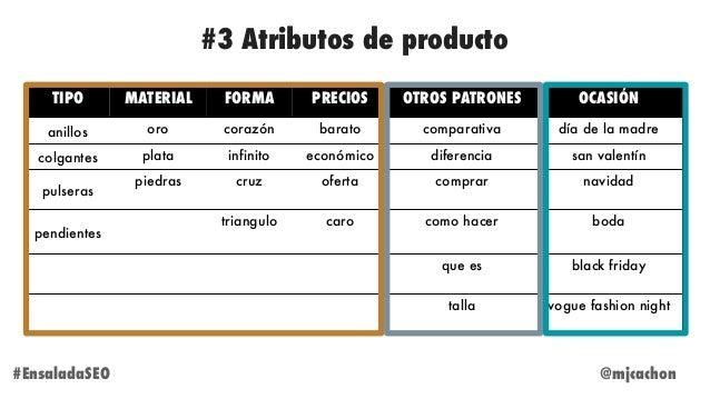 @mjcachon#EnsaladaSEO #3 Atributos de producto TIPO MATERIAL FORMA PRECIOS OTROS PATRONES OCASIÓN anillos oro corazón bara...