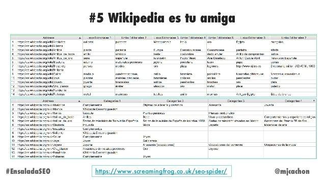 @mjcachon#EnsaladaSEO #5 Wikipedia es tu amiga https://www.screamingfrog.co.uk/seo-spider/
