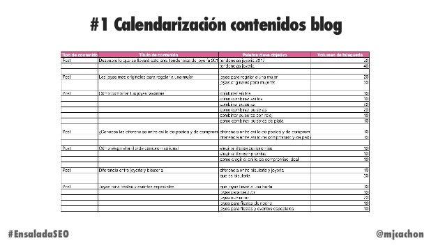 #1 Calendarización contenidos blog @mjcachon#EnsaladaSEO