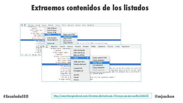 @mjcachon Extraemos contenidos de los listados #EnsaladaSEO http://searchengineland.com/chromes-devtools-seo-10-ways-use-s...