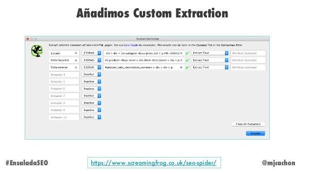 @mjcachon Añadimos Custom Extraction #EnsaladaSEO https://www.screamingfrog.co.uk/seo-spider/