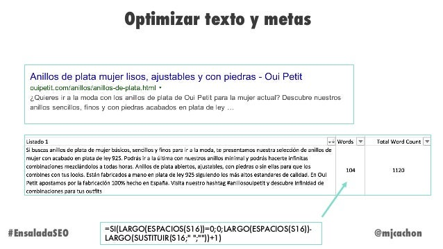 """@mjcachon Optimizar texto y metas =SI(LARGO(ESPACIOS(S16))=0;0;LARGO(ESPACIOS(S16))- LARGO(SUSTITUIR(S16;"""" """";""""""""))+1) #Ensa..."""