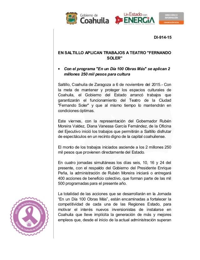 """DI-914-15 EN SALTILLO APLICAN TRABAJOS A TEATRO """"FERNANDO SOLER"""" • Con el programa """"En un Día 100 Obras Más"""" se aplican 2 ..."""