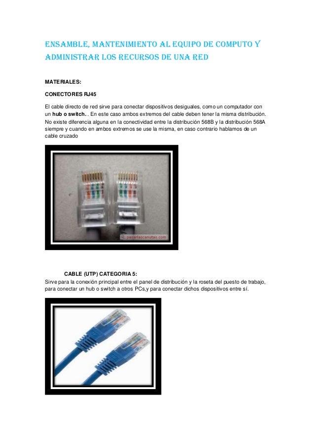 ENSAMBLE, MANTENIMIENTO AL EQUIPO DE COMPUTO Y ADMINISTRAR LOS RECURSOS DE UNA RED MATERIALES: CONECTORES RJ45 El cable di...
