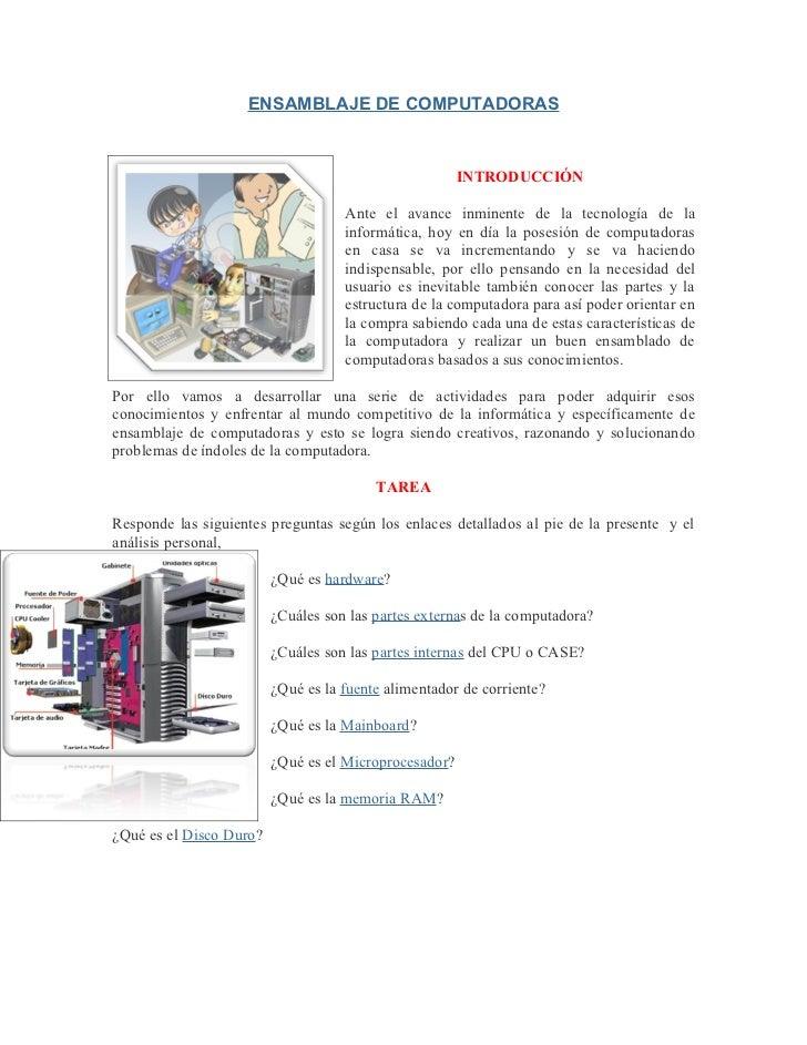 ENSAMBLAJE DE COMPUTADORAS                                                       INTRODUCCIÓN                             ...