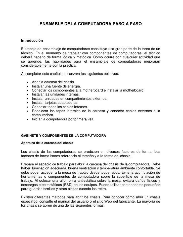 ENSAMBLE DE LA COMPUTADORA PASO A PASOIntroducciónEl trabajo de ensamblaje de computadoras constituye una gran parte de la...