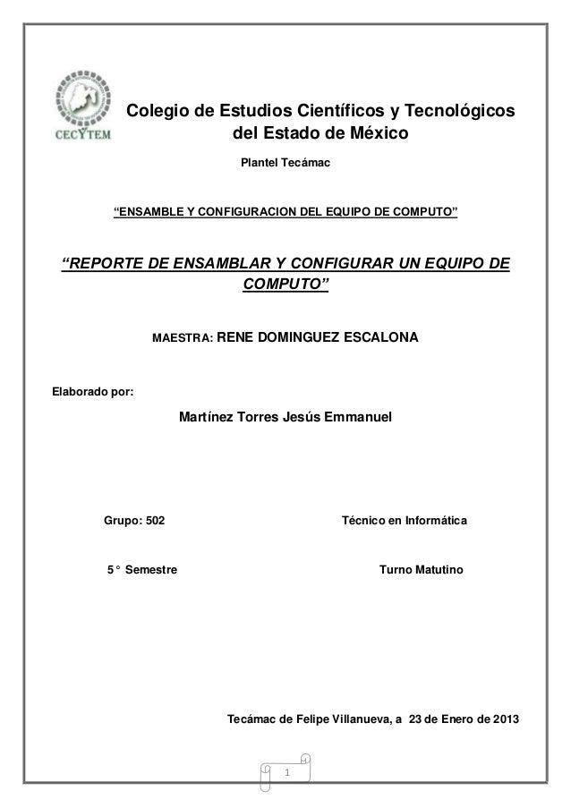 Colegio de Estudios Científicos y Tecnológicos                        del Estado de México                               P...