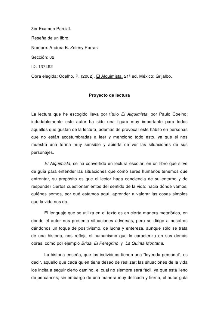 3er Examen Parcial. <br />Reseña de un libro. <br />Nombre: Andrea B. Zéleny Porras <br />Sección: 02<br />ID: 137492 <br ...