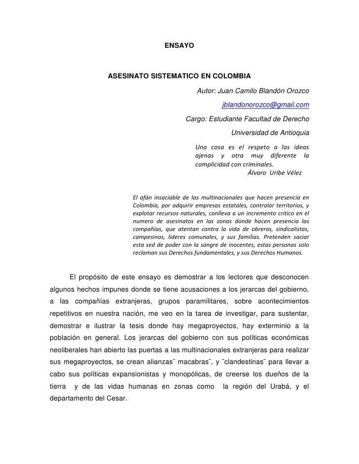 ENSAYO                    ASESINATO SISTEMATICO EN COLOMBIA                                                   Autor: Juan ...