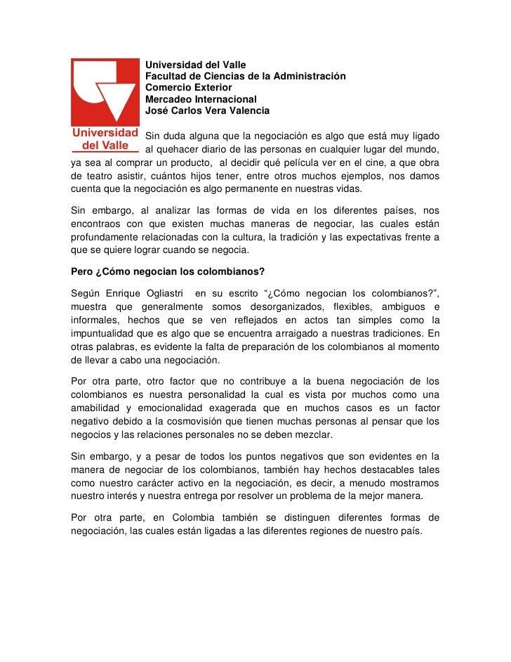 Universidad del Valle                Facultad de Ciencias de la Administración                Comercio Exterior           ...
