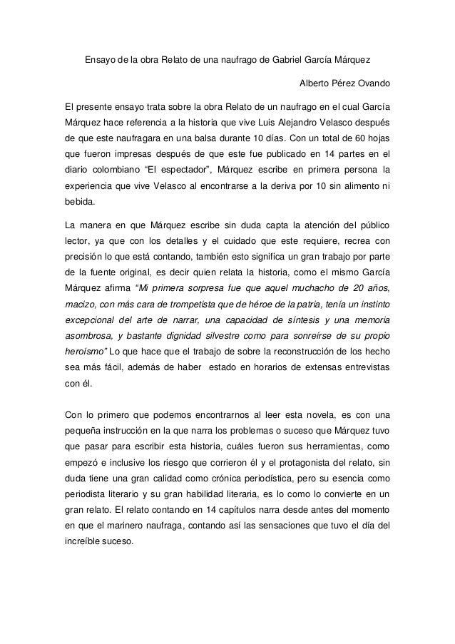 Ensayo de la obra Relato de una naufrago de Gabriel García Márquez                                                        ...