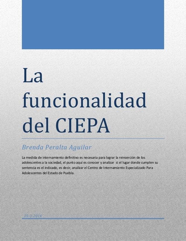 La funcionalidad del CIEPA Brenda Peralta Aguilar La medida de internamiento definitivo es necesaria para lograr la reinse...