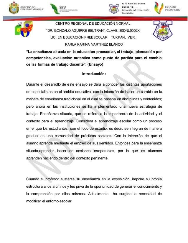 """Karla Karina Martínez Blanco 4 B Licenciatura En Educación Preescolar. CENTRO REGIONAL DE EDUCACIÓN NORMAL """"DR. GONZALO AG..."""
