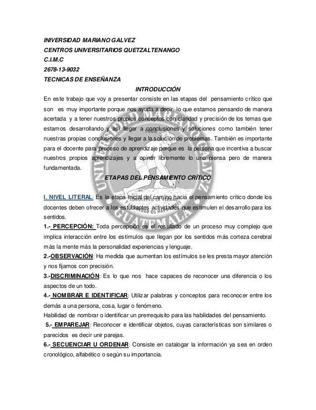INIVERSIDAD MARIANO GALVEZ  CENTROS UNIVERSITARIOS QUETZALTENANGO  C.I.M.C  2678-13-9032  TECNICAS DE ENSEÑANZA  INTRODUCC...