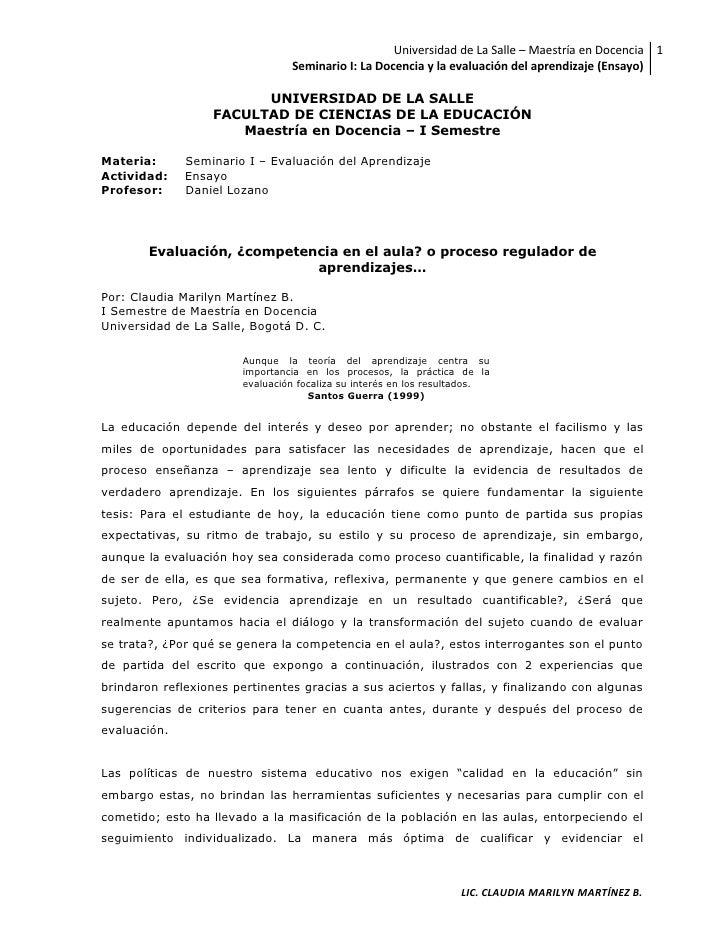 Universidad de La Salle – Maestría en Docencia 1                                 Seminario I: La Docencia y la evaluación ...