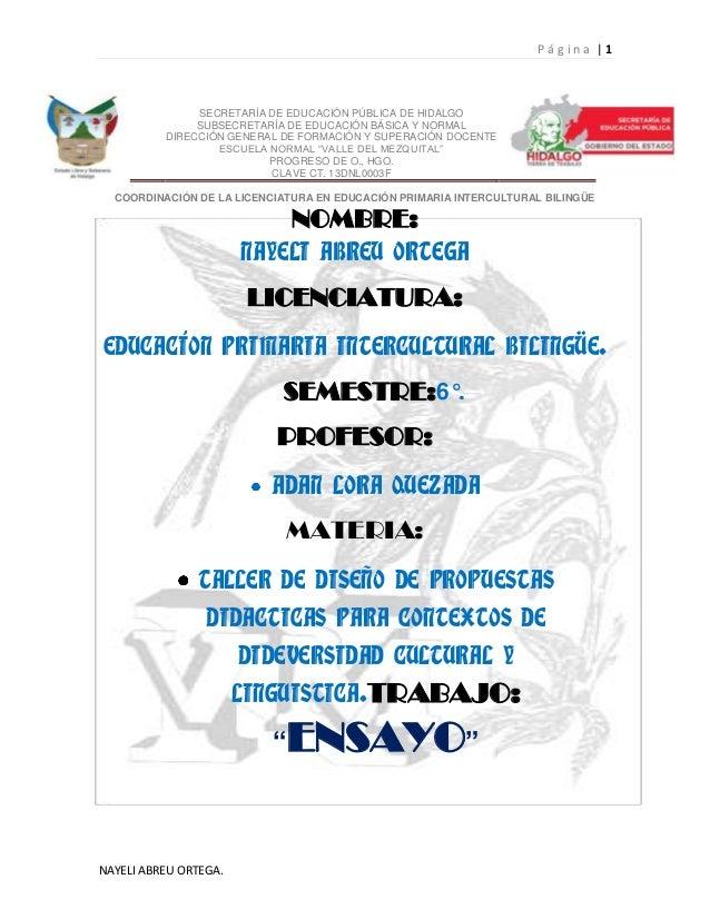 Página |1               SECRETARÍA DE EDUCACIÓN PÚBLICA DE HIDALGO               SUBSECRETARÍA DE EDUCACIÓN BÁSICA Y NORMA...