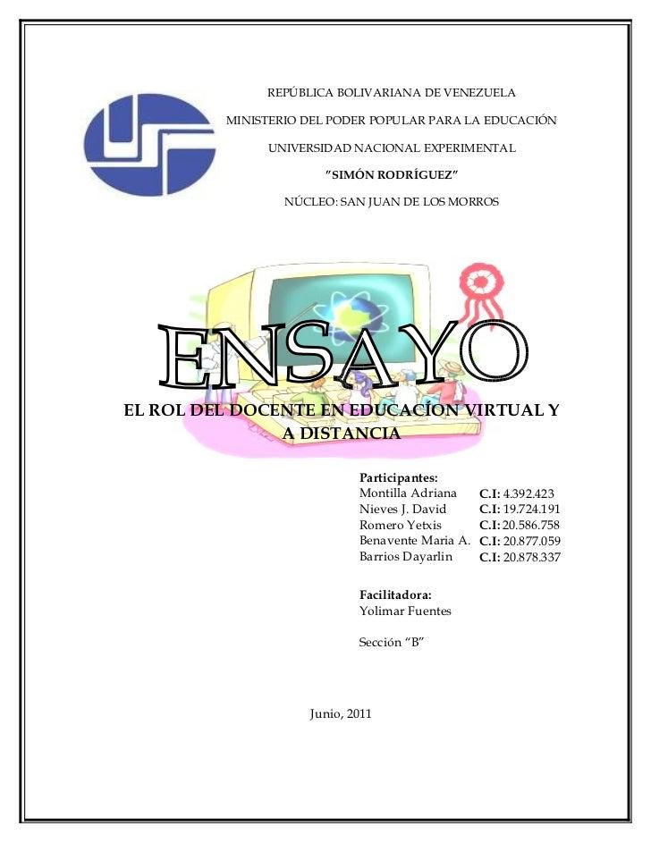 REPÚBLICA BOLIVARIANA DE VENEZUELA         MINISTERIO DEL PODER POPULAR PARA LA EDUCACIÓN              UNIVERSIDAD NACIONA...