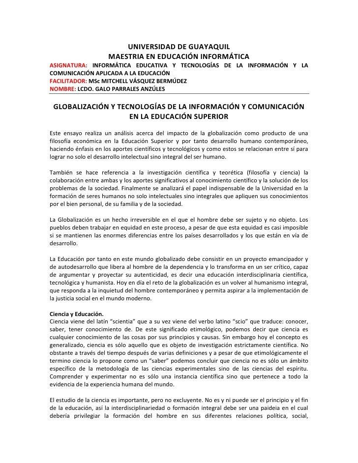UNIVERSIDAD DE GUAYAQUIL                       MAESTRIA EN EDUCACIÓN INFORMÁTICAASIGNATURA: INFORMÁTICA EDUCATIVA Y TECNOL...