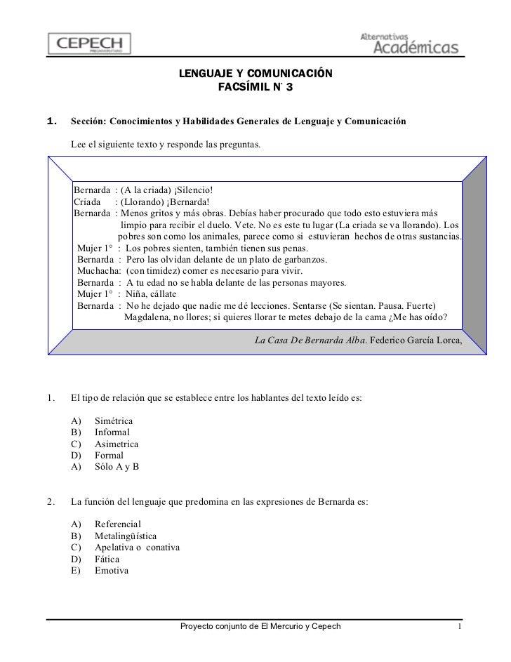 LENGUAJE Y COMUNICACIÓN                                       FACSÍMIL N° 31.   Sección: Conocimientos y Habilidades Gener...