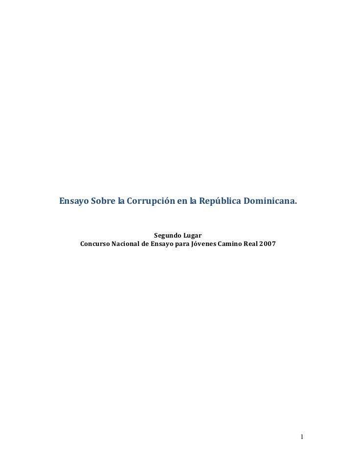 Ensayo Sobre la Corrupción en la República Dominicana.                          Segundo Lugar    Concurso Nacional de Ensa...