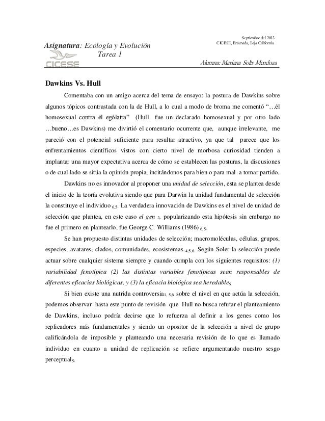 Septiembre del 2013 CICESE, Ensenada, Baja California.  Asignatura: Ecología y Evolución Tarea 1  Alumna: Mariana Solís Me...