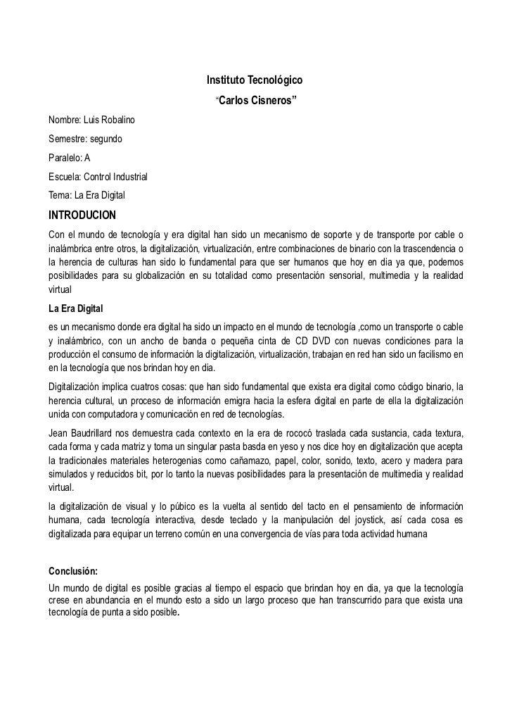 """Instituto Tecnológico                                             """"Carlos Cisneros""""Nombre: Luis RobalinoSemestre: segundoP..."""
