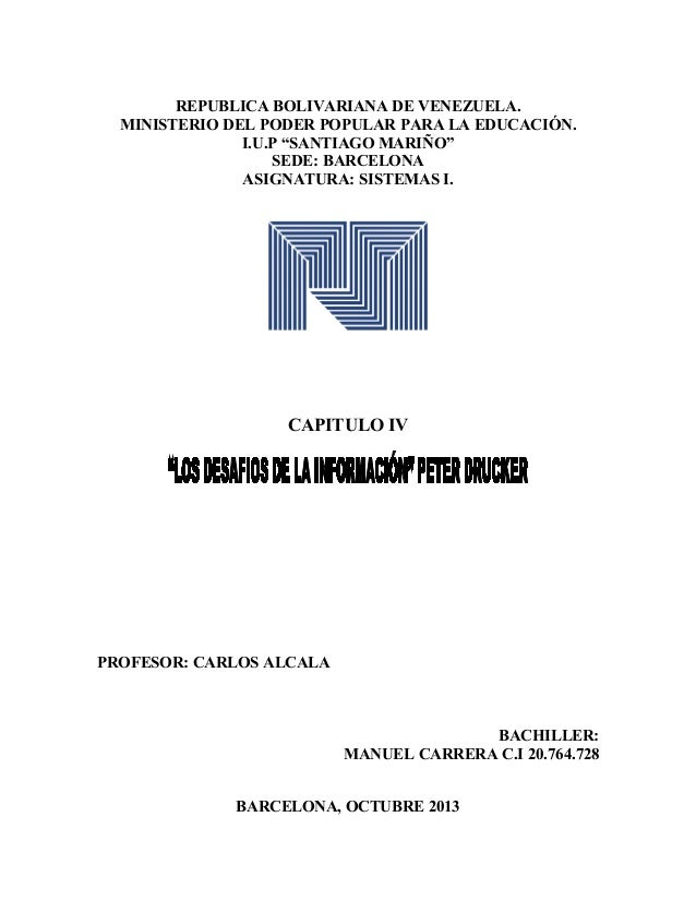 """REPUBLICA BOLIVARIANA DE VENEZUELA. MINISTERIO DEL PODER POPULAR PARA LA EDUCACIÓN. I.U.P """"SANTIAGO MARIÑO"""" SEDE: BARCELON..."""