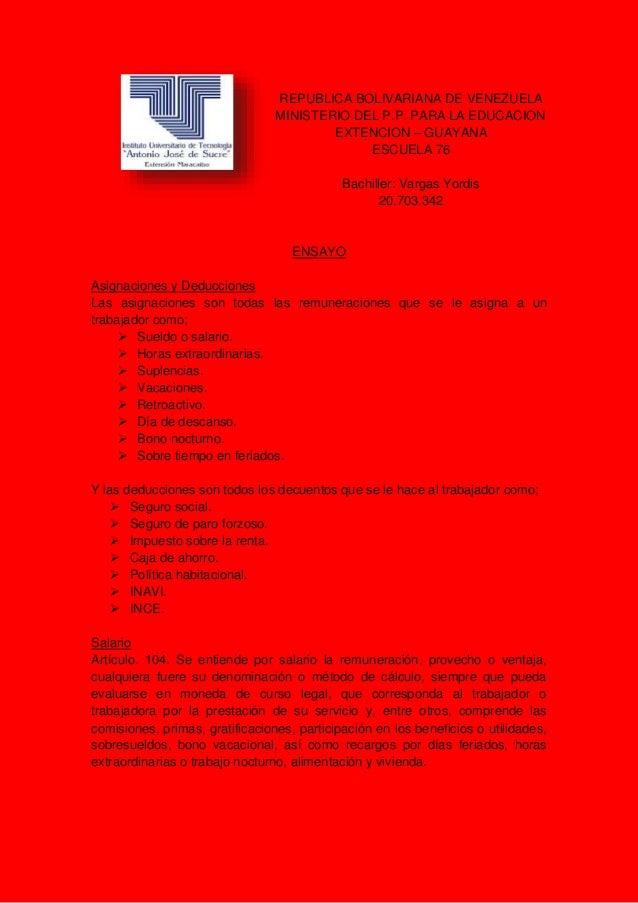 REPUBLICA BOLIVARIANA DE VENEZUELA MINISTERIO DEL P.P. PARA LA EDUCACION EXTENCION – GUAYANA ESCUELA 76 Bachiller: Vargas ...