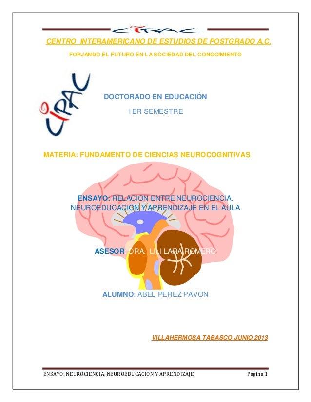 ENSAYO: NEUROCIENCIA, NEUROEDUCACION Y APRENDIZAJE, Página 1 DOCTORADO EN EDUCACIÓN 1ER SEMESTRE CENTRO INTERAMERICANO DE ...