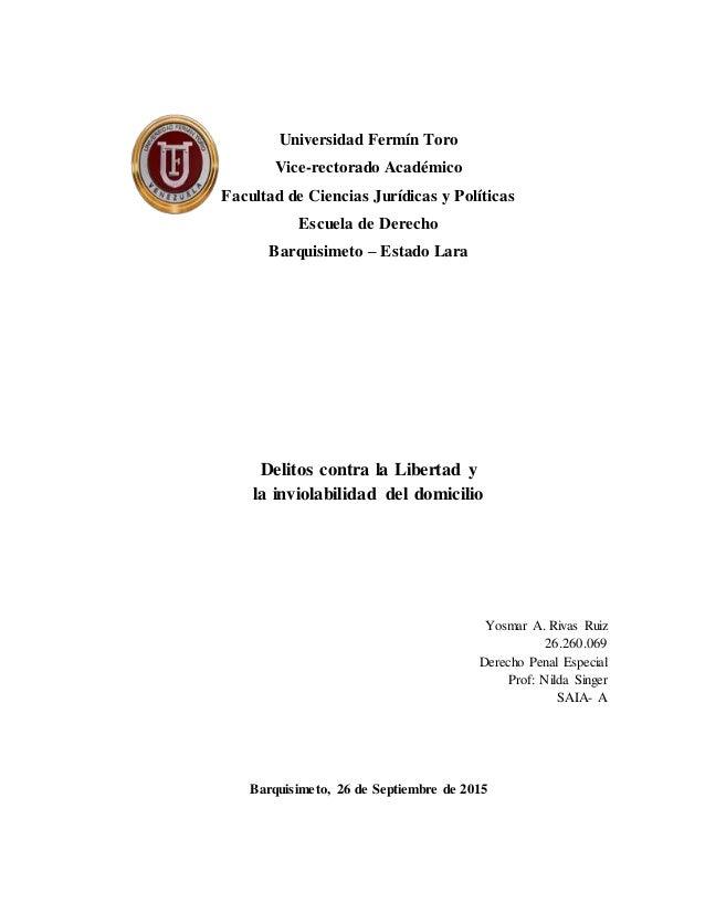 Universidad Fermín Toro Vice-rectorado Académico Facultad de Ciencias Jurídicas y Políticas Escuela de Derecho Barquisimet...