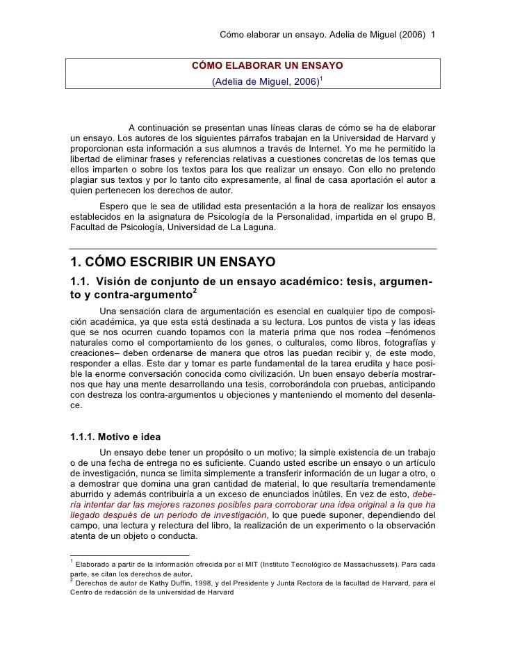 Cómo elaborar un ensayo. Adelia de Miguel (2006) 1                                       CÓMO ELABORAR UN ENSAYO          ...