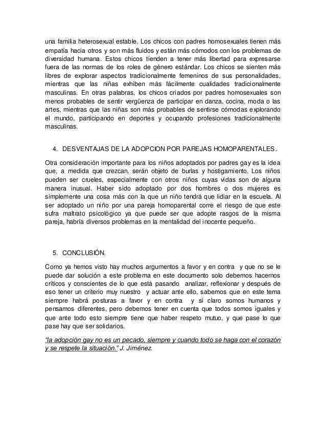 Adopcion homosexual a favor pdf