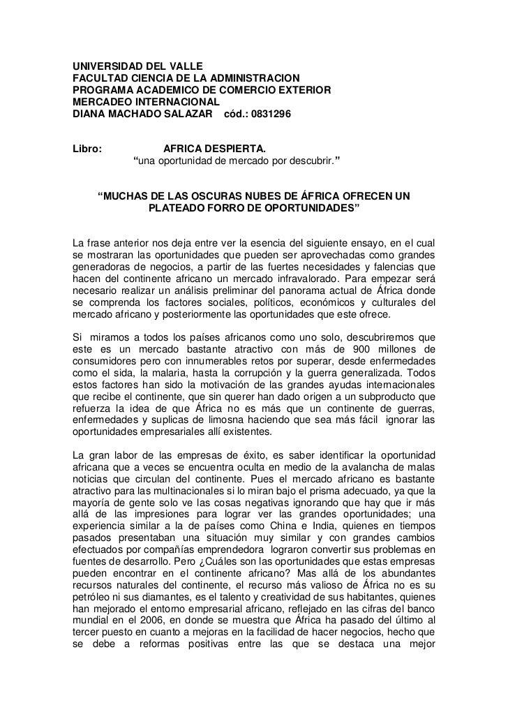 UNIVERSIDAD DEL VALLEFACULTAD CIENCIA DE LA ADMINISTRACIONPROGRAMA ACADEMICO DE COMERCIO EXTERIORMERCADEO INTERNACIONALDIA...