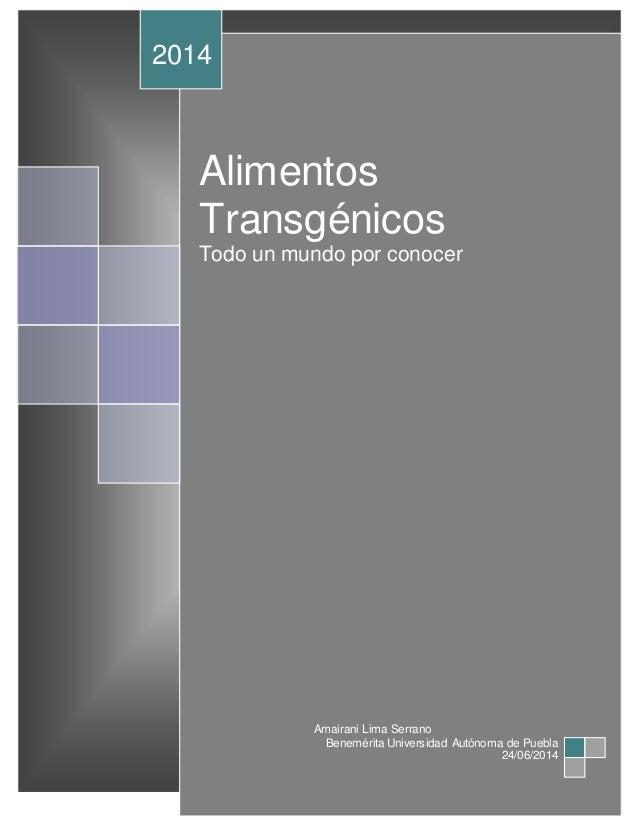 Alimentos Transgénicos Todo un mundo por conocer 2014 Amairani Lima Serrano Benemérita Universidad Autónoma de Puebla 24/0...