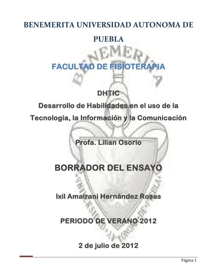 BENEMERITA UNIVERSIDAD AUTONOMA DE                   PUEBLA       FACULTAD DE FISIOTERAPIA                    DHTIC   Desa...