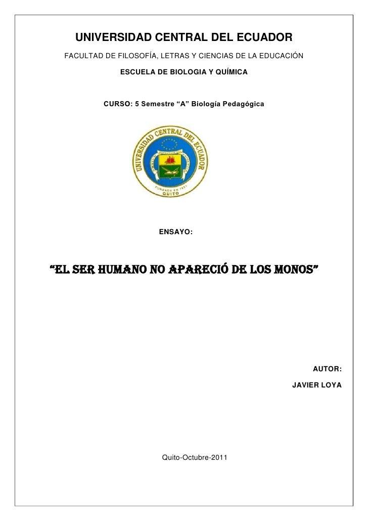 UNIVERSIDAD CENTRAL DEL ECUADOR  FACULTAD DE FILOSOFÍA, LETRAS Y CIENCIAS DE LA EDUCACIÓN               ESCUELA DE BIOLOGI...