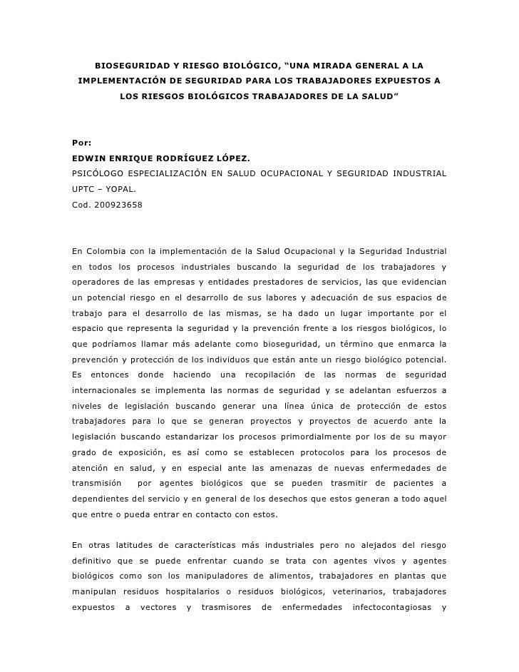 """BIOSEGURIDAD Y RIESGO BIOLÓGICO, """"UNA MIRADA GENERAL A LA  IMPLEMENTACIÓN DE SEGURIDAD PARA LOS TRABAJADORES EXPUESTOS A  ..."""