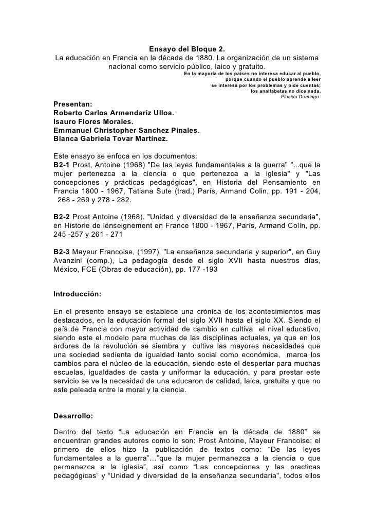 Ensayo del Bloque 2. La educación en Francia en la década de 1880. La organización de un sistema                nacional c...