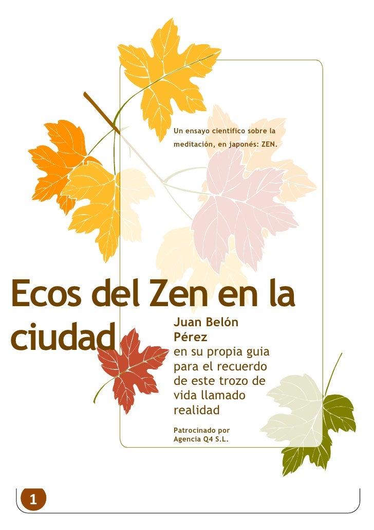 Un ensayo científico sobre la                                                  meditación, en japonés: ZEN.     Ecos del Z...