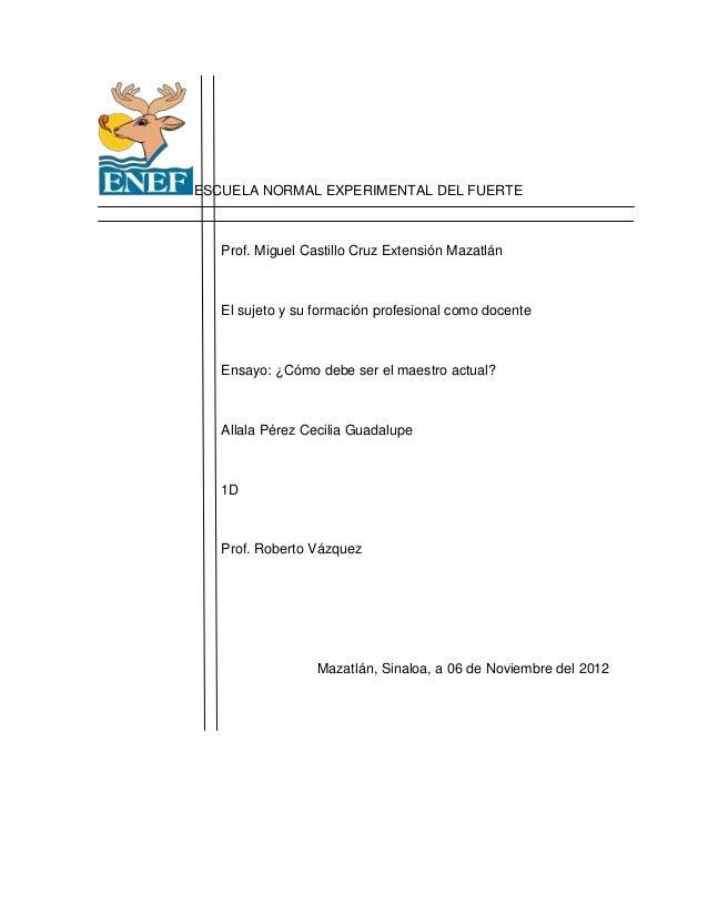 ESCUELA NORMAL EXPERIMENTAL DEL FUERTE   Prof. Miguel Castillo Cruz Extensión Mazatlán   El sujeto y su formación profesio...