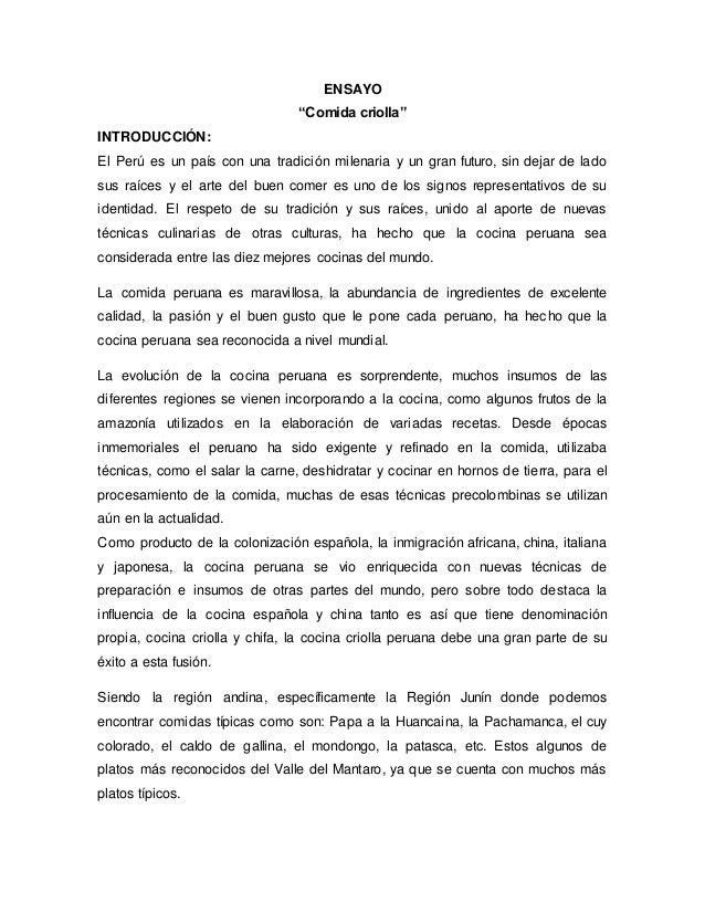 Ensayo comida criolla for Introduccion a la gastronomia pdf
