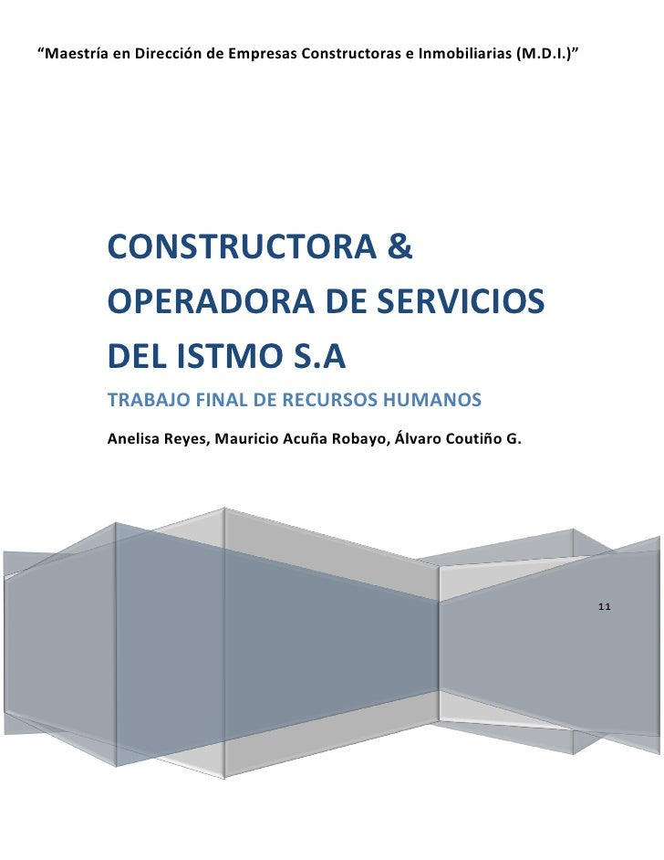 """""""Maestría en Dirección de Empresas Constructoras e Inmobiliarias (M.D.I.)""""         CONSTRUCTORA &         OPERADORA DE SER..."""