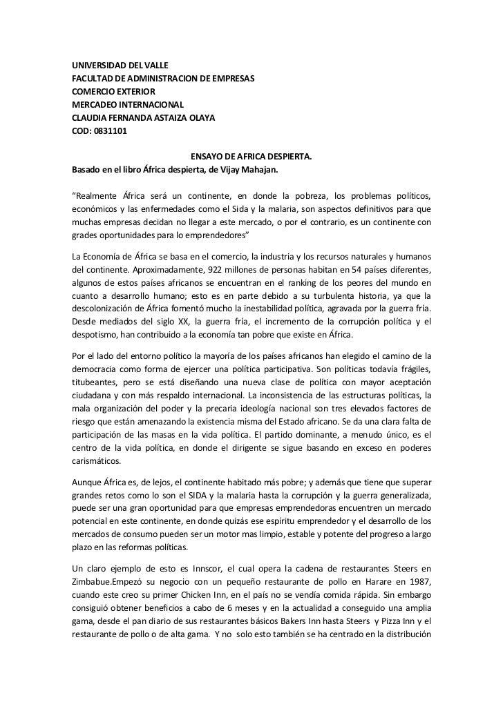 UNIVERSIDAD DEL VALLEFACULTAD DE ADMINISTRACION DE EMPRESASCOMERCIO EXTERIORMERCADEO INTERNACIONALCLAUDIA FERNANDA ASTAIZA...