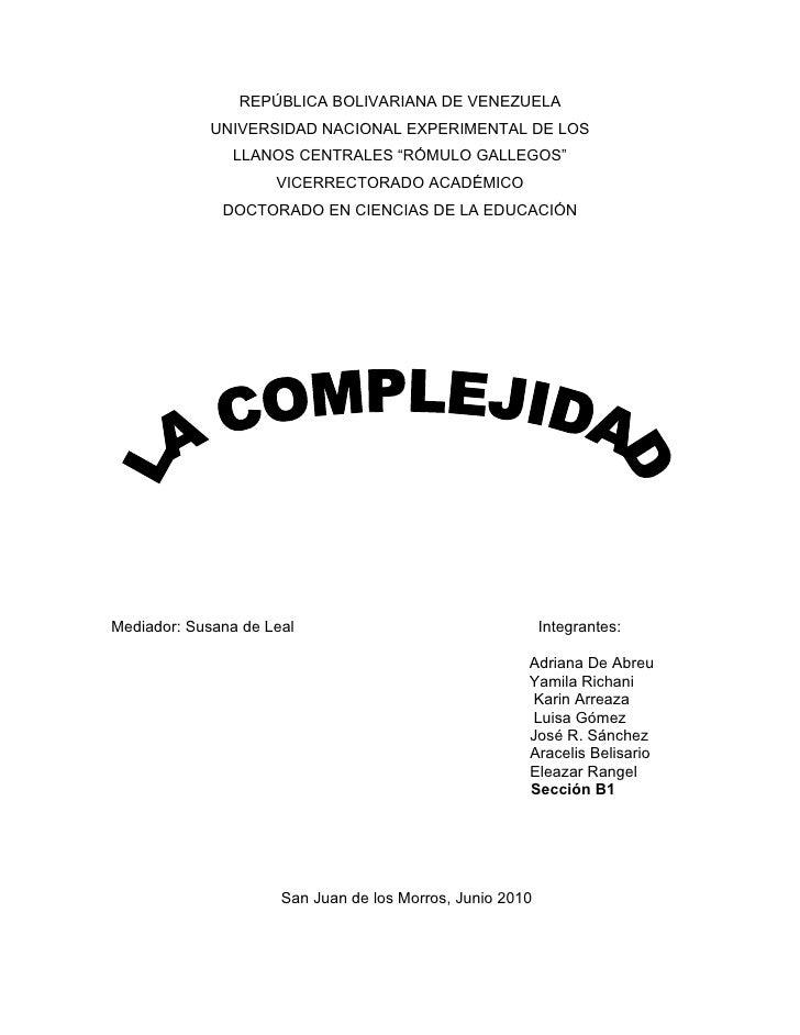 """REPÚBLICA BOLIVARIANA DE VENEZUELA              UNIVERSIDAD NACIONAL EXPERIMENTAL DE LOS                LLANOS CENTRALES """"..."""
