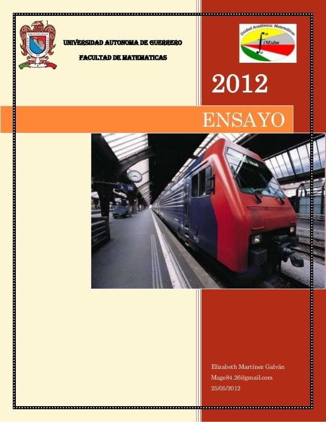 1    UNIVERSIDAD AUTONOMA DE GUERRERO        FACULTAD DE MATEMATICAS                                       2012           ...