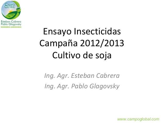 Ensayo InsecticidasCampaña 2012/2013   Cultivo de soja Ing. Agr. Esteban Cabrera Ing. Agr. Pablo Glagovsky                ...