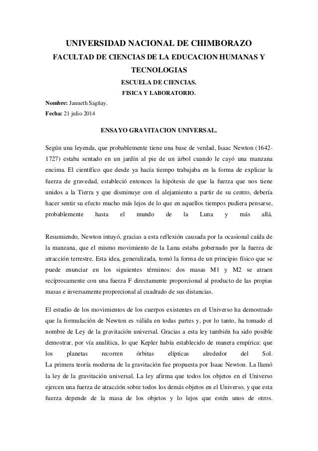 UNIVERSIDAD NACIONAL DE CHIMBORAZO FACULTAD DE CIENCIAS DE LA EDUCACION HUMANAS Y TECNOLOGIAS ESCUELA DE CIENCIAS. FISICA ...
